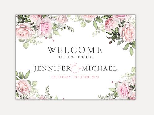 Pink Rose Wedding Signs