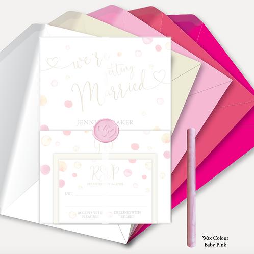 Watercolour Confetti Evening Invitation, RSVP, Info Card, Vellum Wrap &