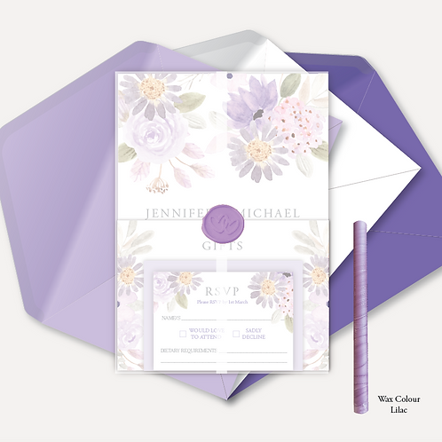 Lilac Bloom Evening Invitation, RSVP, Info Card with Vellum Wrap & Wax Seal