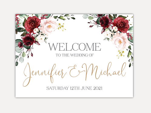 Red & Pink Rose Wedding Signs