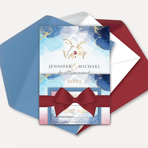 Disney Inspired Day Invitation, RSVP, Info Card with Ribbon