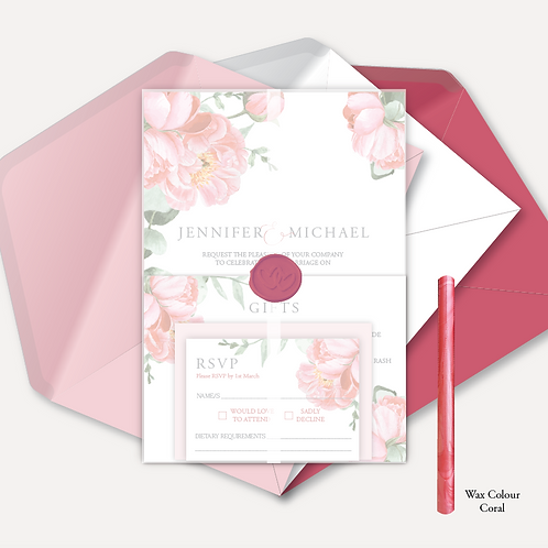 Pink Peony Evening Invitation, RSVP, Info Card with Vellum