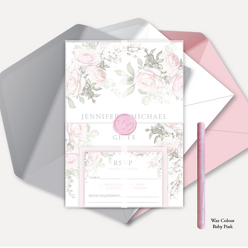 Pink Rose Evening Invitation, RSVP, Info Card with Vellum & Wax Seal