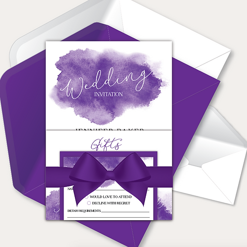 Watercolour Day Invitation, RSVP & Information Card with Ribbon