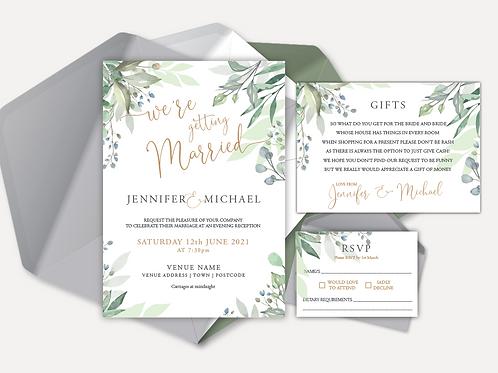 Sage Leaves Evening Invitation, RSVP & Info Card