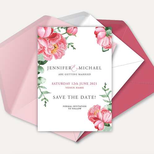 Pink Peony Magnetic Save the Date