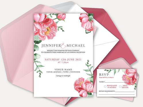 Pink Peony Evening Invitation & RSVP