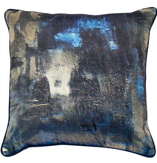 Abstract Navy & Gold Cushion