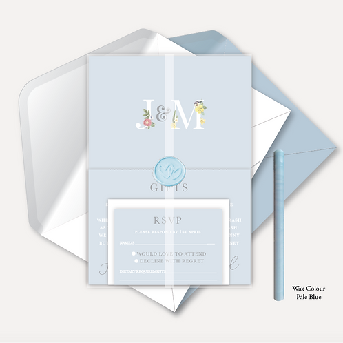 Floral Monogram Evening Invitation, RSVP, Info Card, Vellum Wrap & Wax Seal