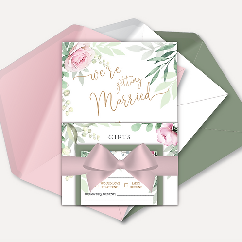 Sage & Pink Bloom Day Invitation, RSVP, Info Card with Ribbon