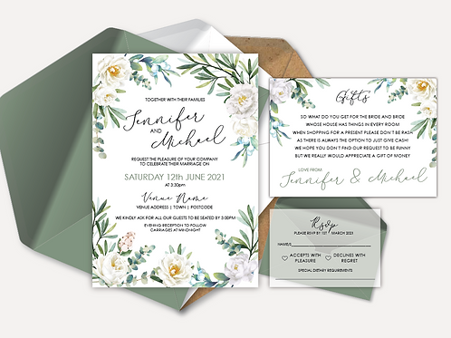 White Rose Day Invitation, RSVP & Info Card