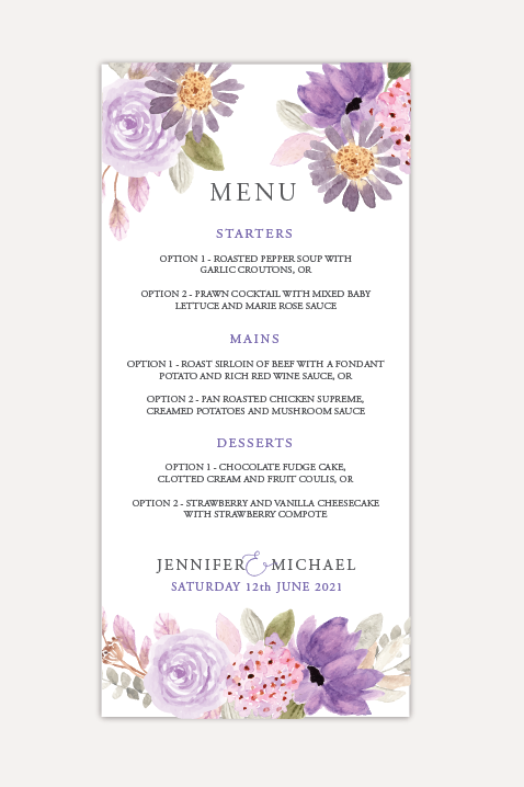 Lilac Bloom Menu Cards