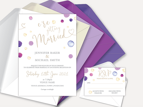 Watercolour Confetti Evening Invitation & RSVP