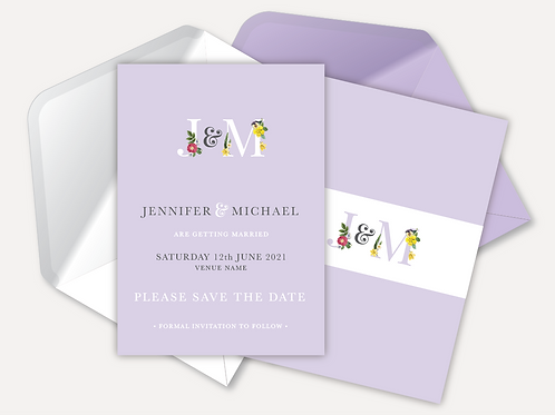 Floral Monogram Save the Date