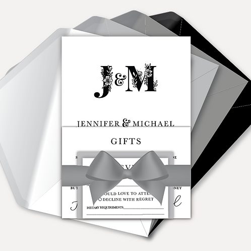 B&W Monogram Day Invitation, RSVP, Info Card with Ribbon