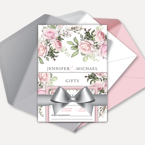 Pink Rose Day Invitation, RSVP, Info Card with Ribbon