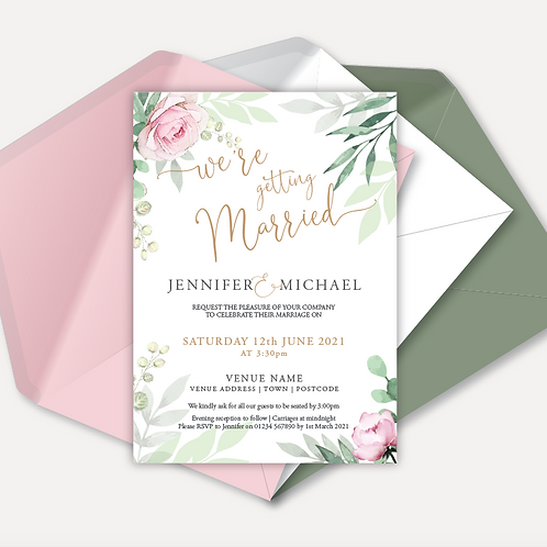 Sage & Pink Bloom Day Invitation