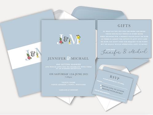 Floral Monogram Evening Invitation, RSVP & Info Card