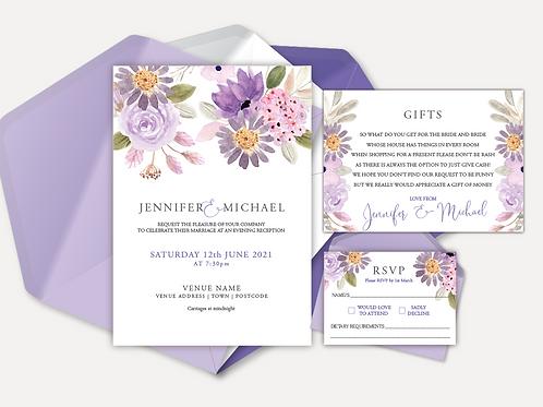 Lilac Bloom Evening Invitation, RSVP & Info Card