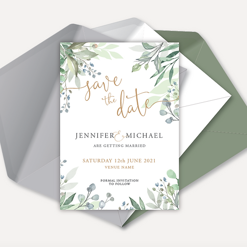 Sage Leaves Magnetic Save the Date