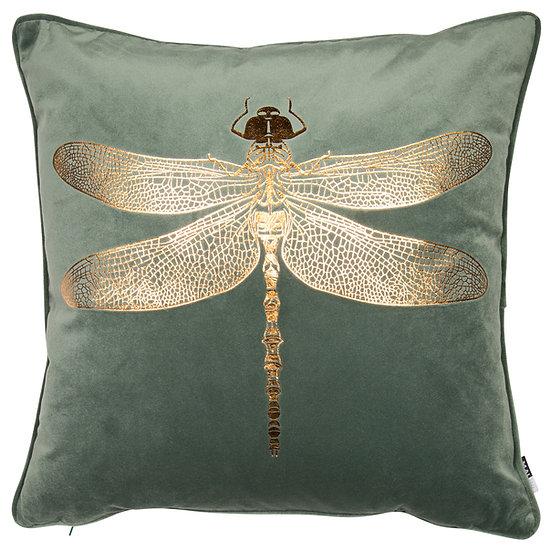 Green & Gold Dragonfly Cushion