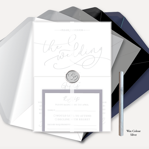 Simplicity Day Invitation, RSVP, Information Card, Full Vellum Wrap & Wax Seal
