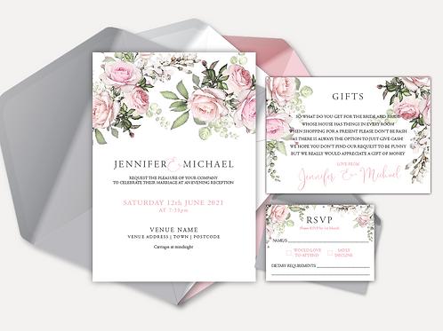Pink Rose Evening Invitation, RSVP & Info Card