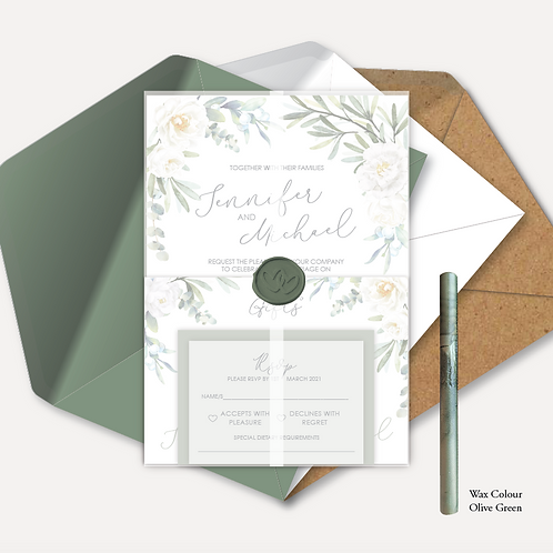 White Rose Day Invitation, RSVP, Info Card with Vellum Wrap & Wax Seal