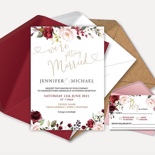 Red & Pink Rose Evening Invitation & RSVP