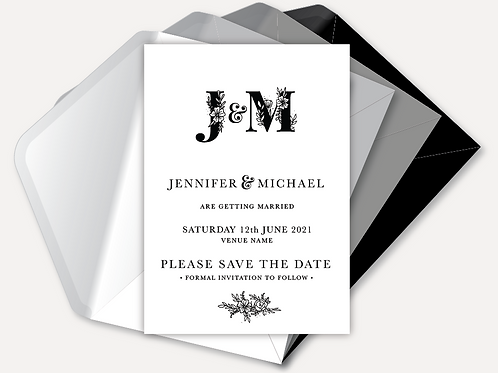 B&W Monogram Save the Date