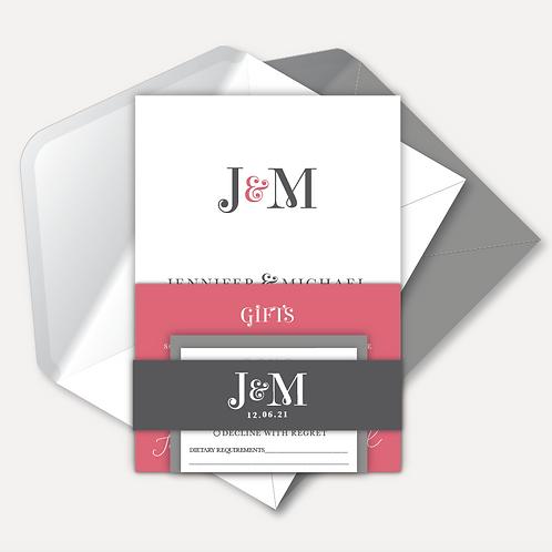 Modern Monogram Day Invitation, RSVP, Info Card & Belly Band