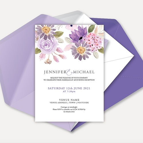 Lilac Bloom Evening Invitation