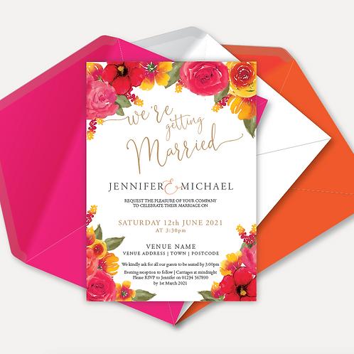 Pink & Orange Bloom Day Invitation