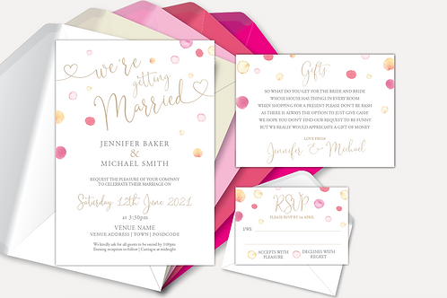 Watercolour Confetti Day Invitation, RSVP & Information Card