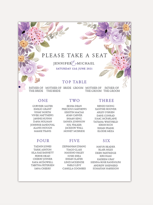 Lilac Bloom Table Plan