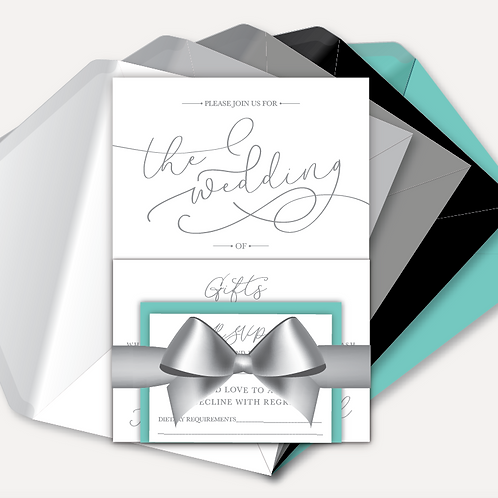 Simplicity Day Invitation, RSVP & Information Card with Ribbon