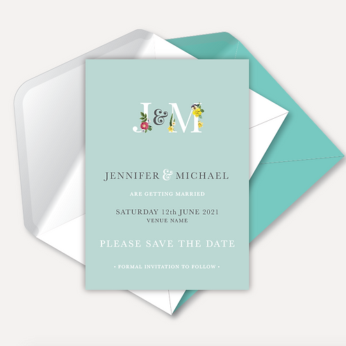Floral Monogram Magnetic Save the Date