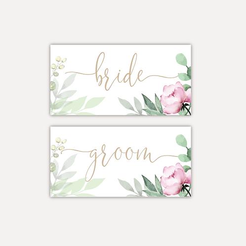 Sage & Pink Bloom Place cards