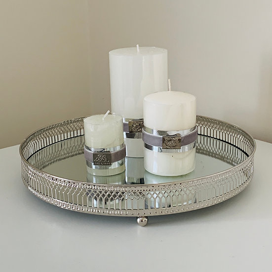Large Silver Candle Tray
