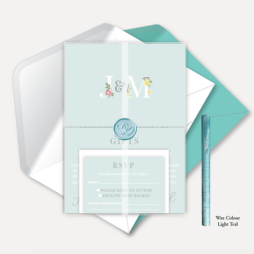 Floral Monogram Day Invitation, RSVP, Info Card, Vellum Wrap & Wax Seal