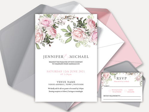 Pink Rose Day Invitation & RSVP