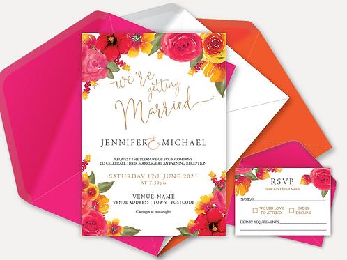 Pink & Orange Bloom Evening Invitation & RSVP