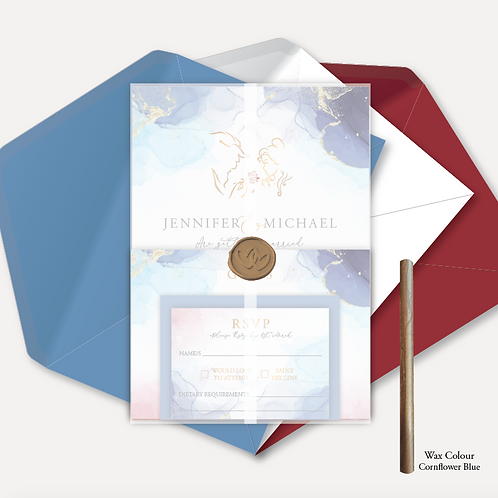 Disney Inspired Evening Invitation, RSVP, Info Card with Vellum Wrap& Wa