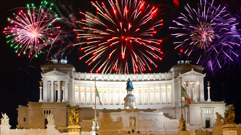 Celebratory fireworks over a monument of