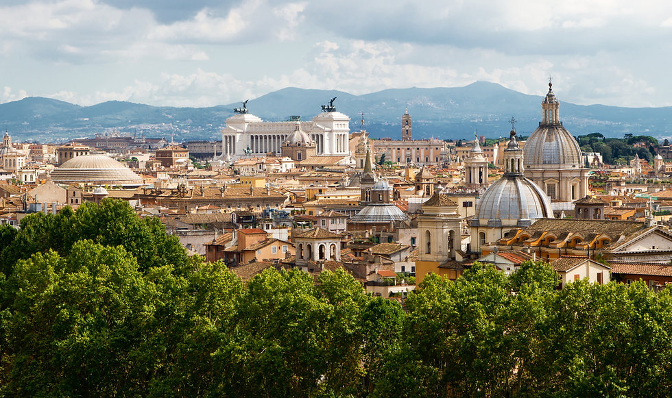Aerial panoramic view of Rome, Italy. Be