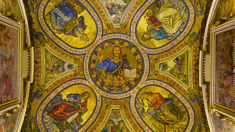 Ancient Roman mosaic_ Jesus and the Evan