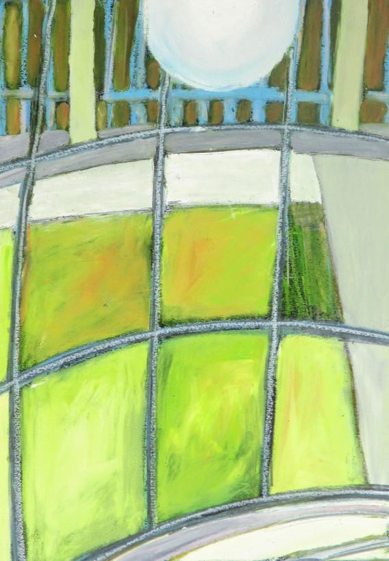 Pohled z chodby na trávník, Kepler