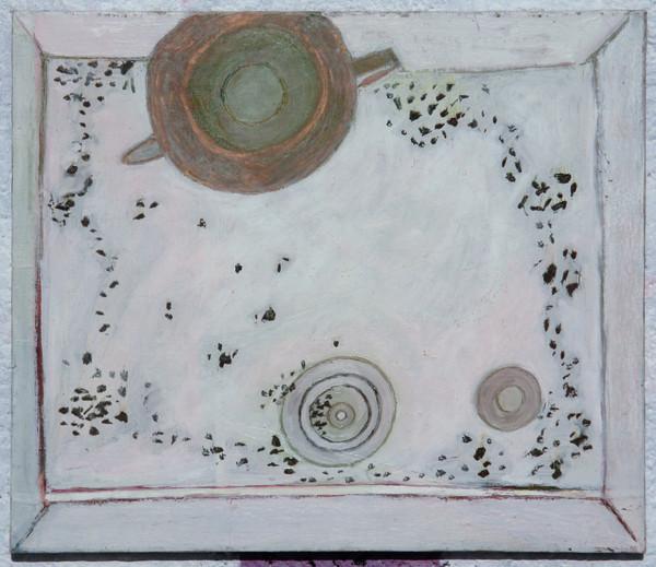 Porcelánový dřes s konvicí a čajem