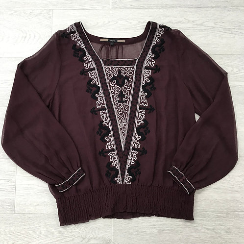 ⚪️ NEXT long sleeve lightweight see through blouse. Size 10.