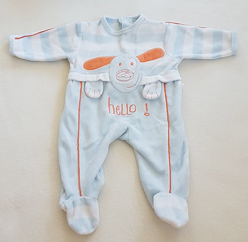NIGHTWEARTEX. Blue velor sleepsuit with opening back. Size 1 month.